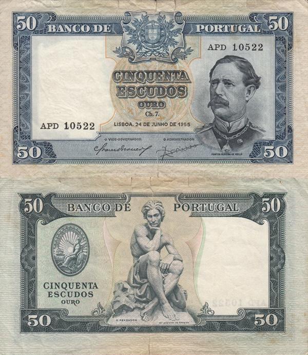 1853; 1955 Issue - 50 Escudos