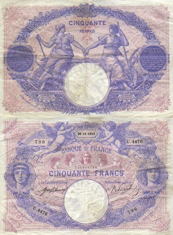 1889-1927 Issue - 50 Francs
