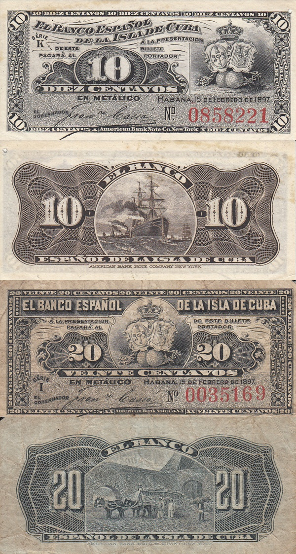 1897 Issue (Spanish Administration - Banco Español de la Isla de Cuba)