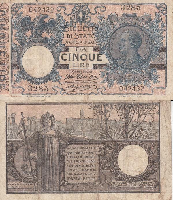 1904-1924 Issue - Biglietto di Stato - 5 Lire