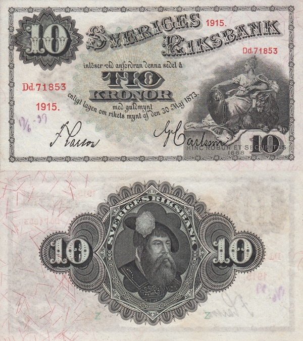 1906-1917 Issue - 10 Kronor