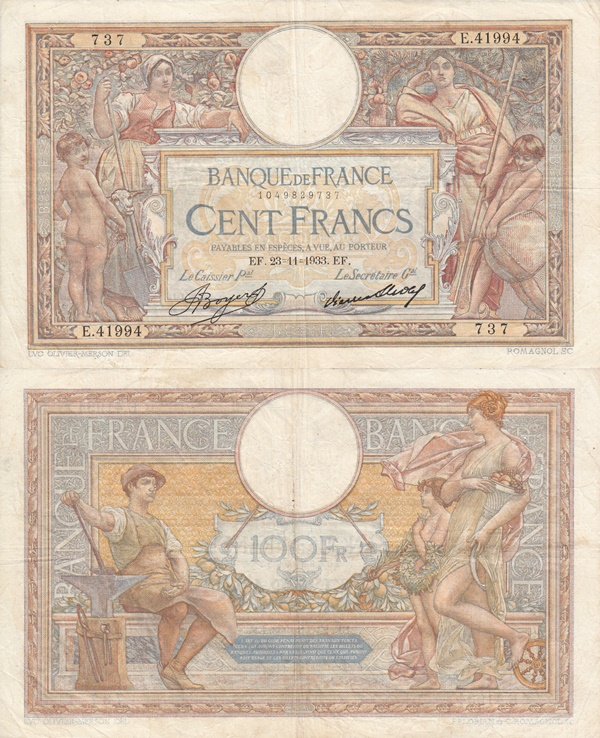 1908-1939 Issues - 100 Francs