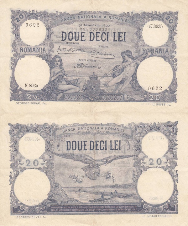 1909-1929 Issue - 20 Lei