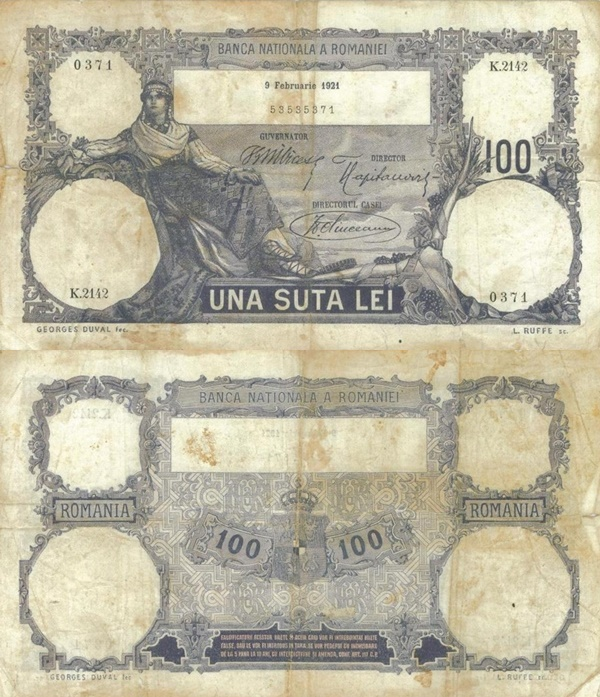 1910-1929 Issue - 100 Lei