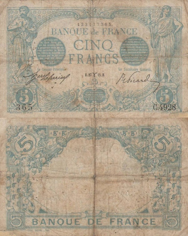1912-1917 Issue - 5 Francs