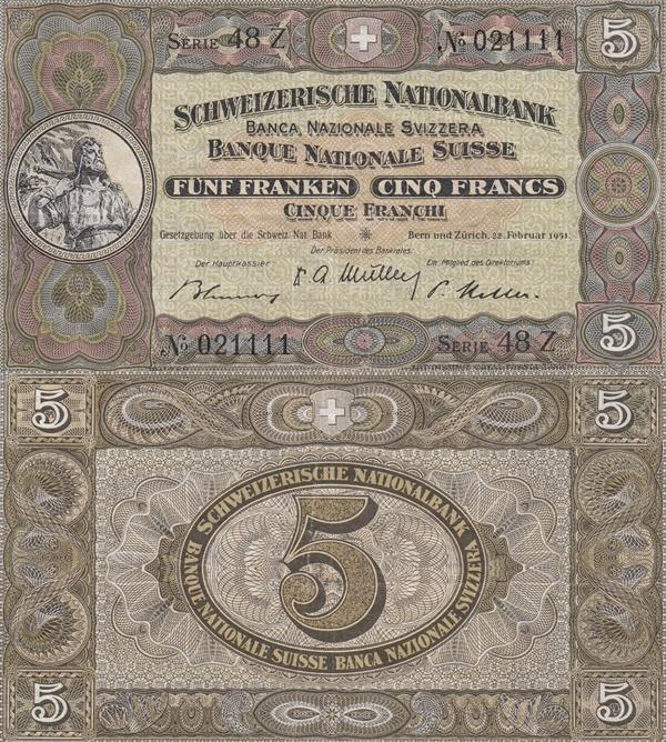 1913-1953 Issue - 5 Franken