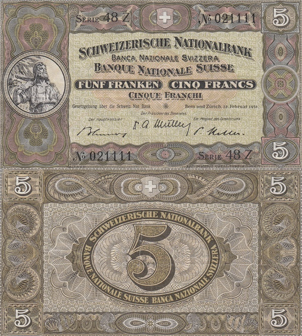 Emisiunea 1913-1953 - 5 Franken