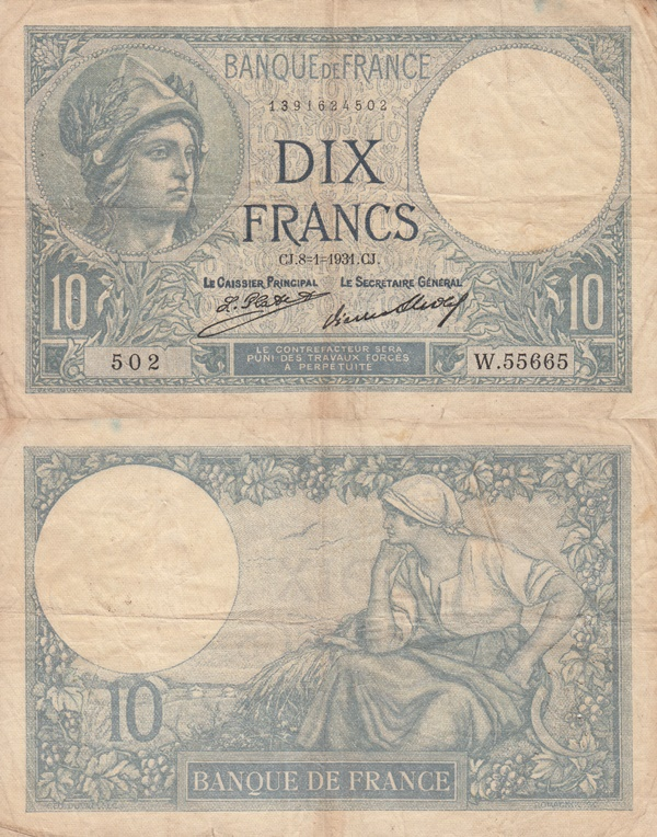 1916-1937 Issue - 10 Francs