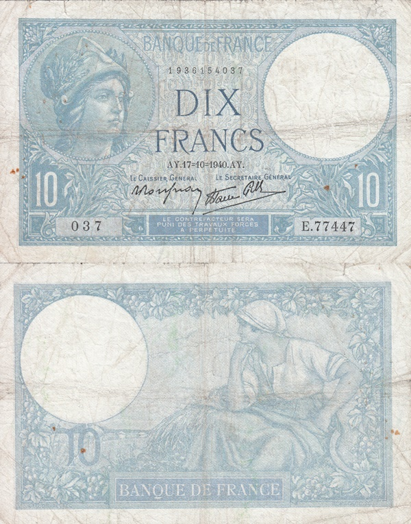 1939-1942 Issue - 10 Francs
