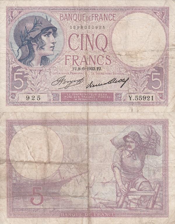 1917-1933; 1939-1940 Issues - 5 Francs