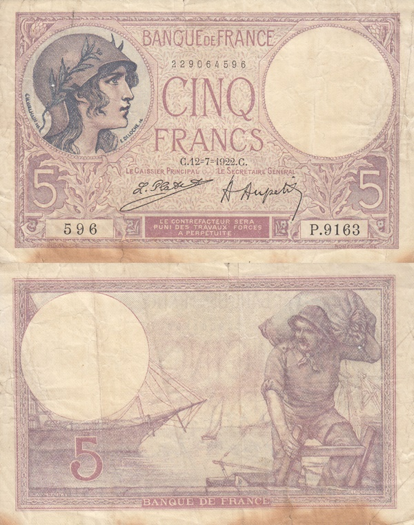 1917-1933 Issue - 5 Francs