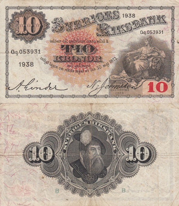 1918-1940 Issue - 10 Kronor