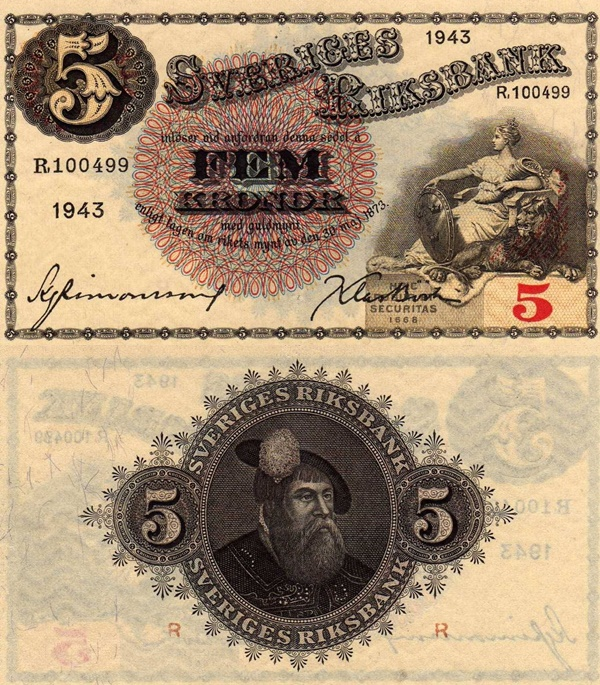 1918-1952 Issue - 5 Kronor