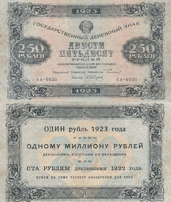 1923 Issue (First Issue) - 250 Rubles (ГОСУДАРСТВЕННЫЙ ДЕНЕЖНЫЙ ЗНАК - State Currency Note)
