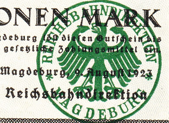 1923 Issue - German State Railroad (Deutsche Reichsbahn) - Reichsbahandirektion - Magdenburg