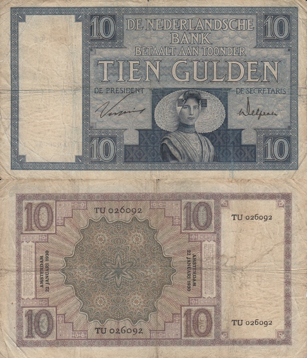 1924-1932 Issue - 10 Gulden