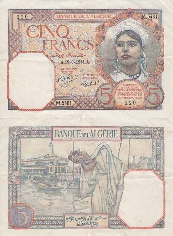 Emisiunea 1924-1941 - 5 Franci (Banque de l'Algérie)