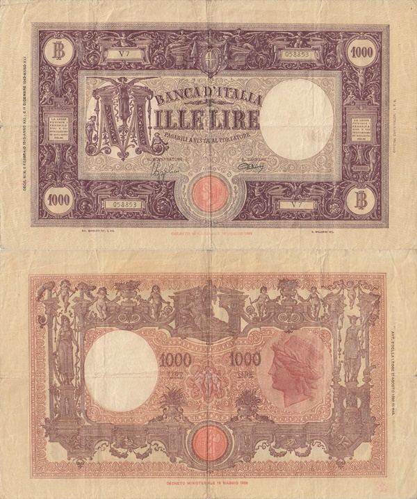 1926-1932; 1942-1943 Issue - 1000 Lire