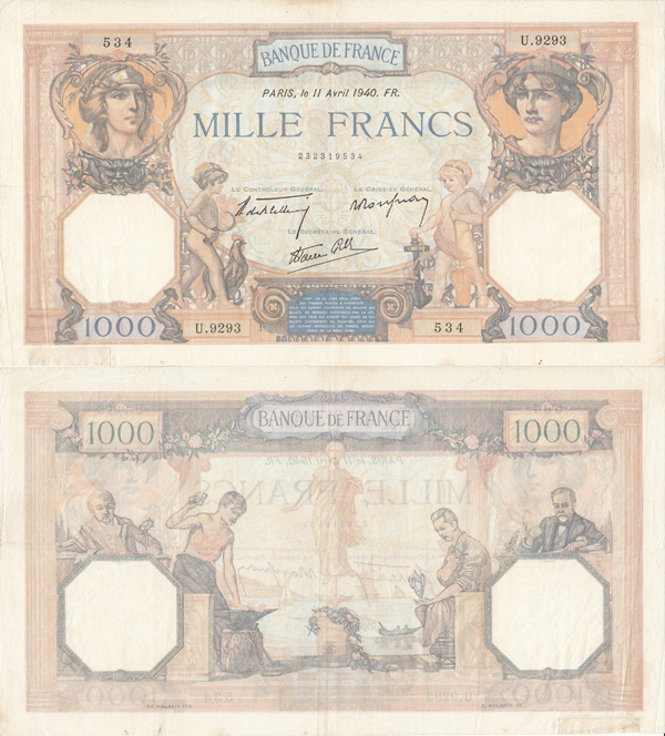 1927-1940 Issues - 1000 Francs