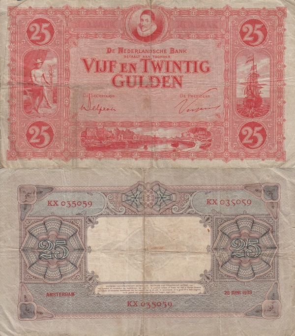 1929-1930 Issue - 25 Gulden