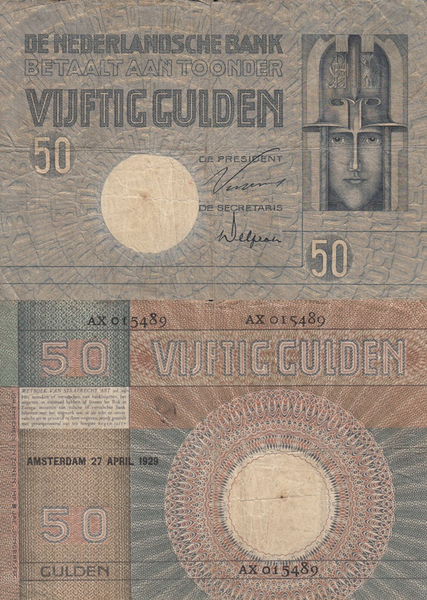 1929-1931 Issue - 50 Gulden