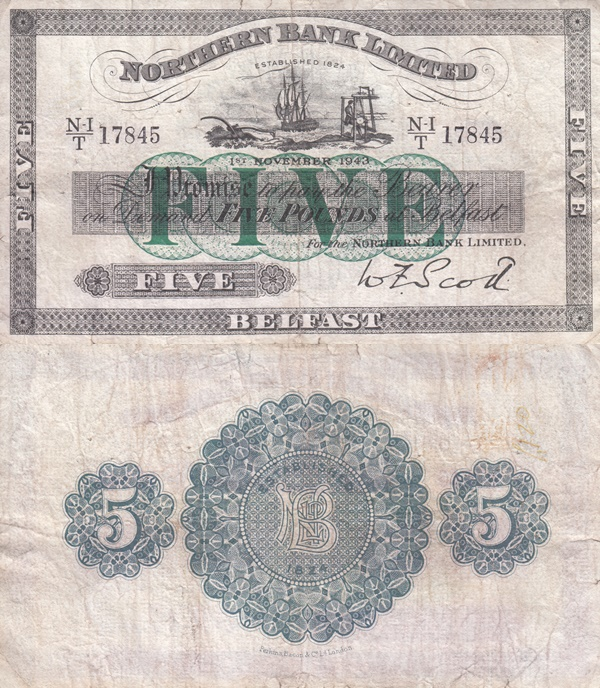 Emisiunea 1929; 1937-1943 - 	 Northern Bank Limited - 5 Pounds