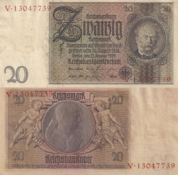 1929; (1945) Issue - 20 Reichsmark