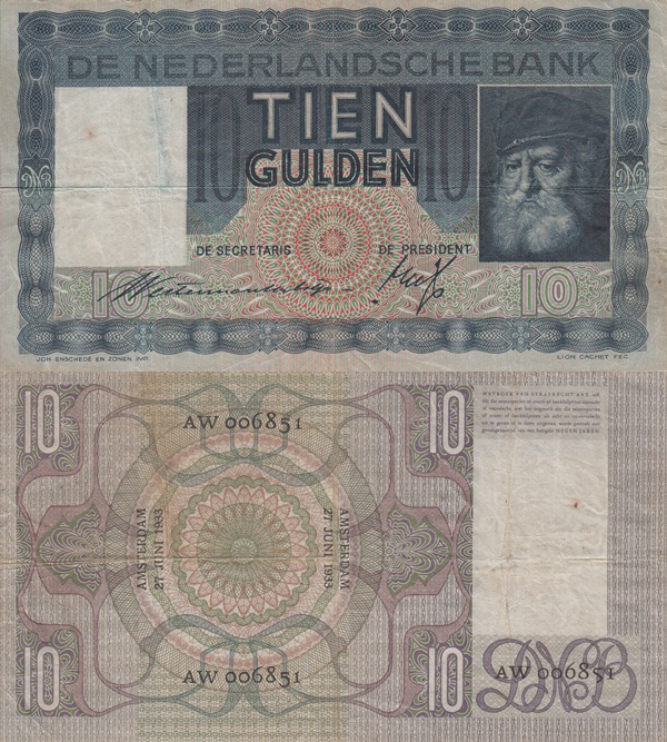 1933-1939 Issue - 10 Gulden
