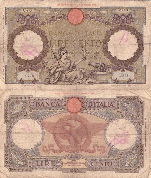 1931-1942 Issue - Banca d'Italia - 100 Lire