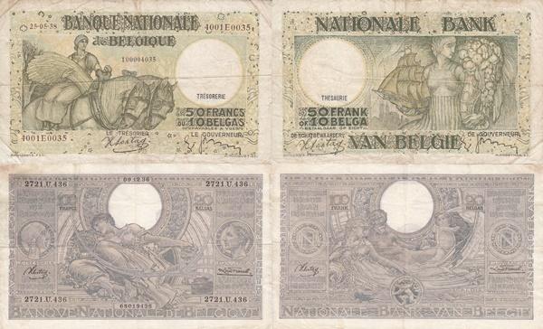 Emisiunea 1933-1947 (1 Franc/Frank = 0.2 Belgas/Belga)