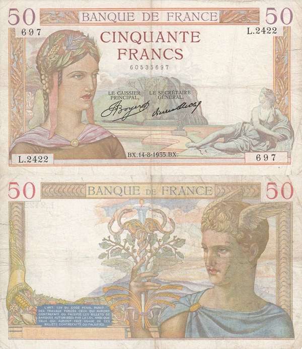 1934-1940 Issues - 50 Francs