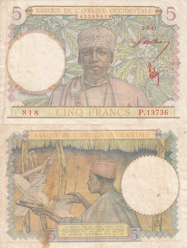 1934-1943 Issues - 5 Francs (Banque de l'Afrique Occidentale)