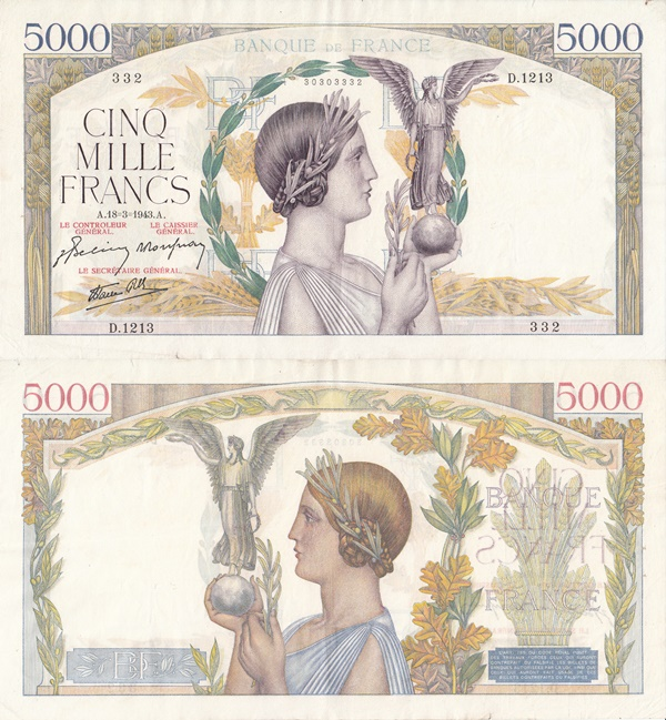1934-1944 Issues - 5000 Francs