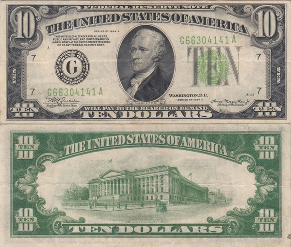 1934 Issue - 10 Dollars