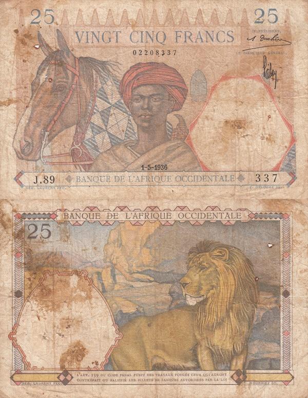 1936-1939 Issue - 25 Francs (Banque de l'Afrique Occidentale)