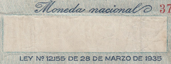 1936-1946 ND Issue - Ley No. 12155 DE 28 DE MARZO DE 1935