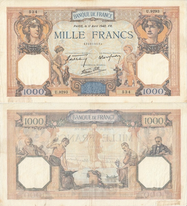 1937-1940 Issue - 1000 Francs