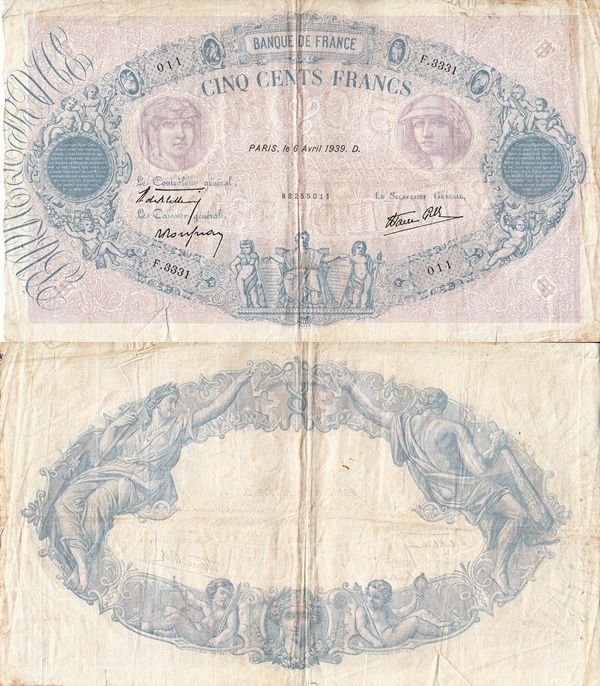 1937-1940 Issue - 500 Francs