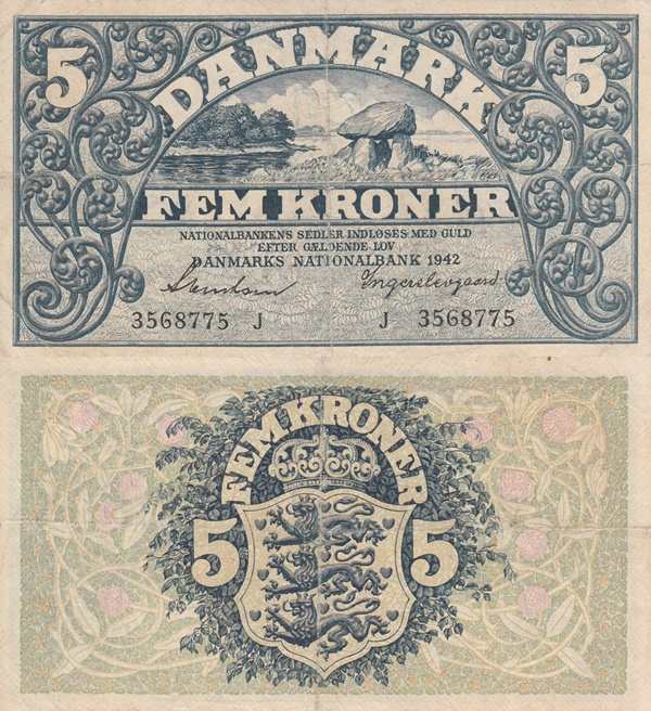 1937-1943 Issue - 5 Kroner