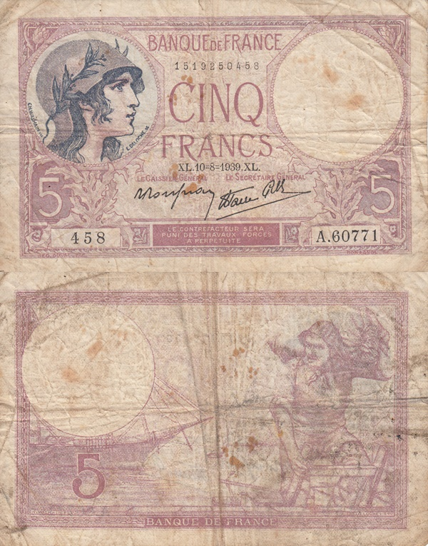 1939-1940 Issue - 5 Francs