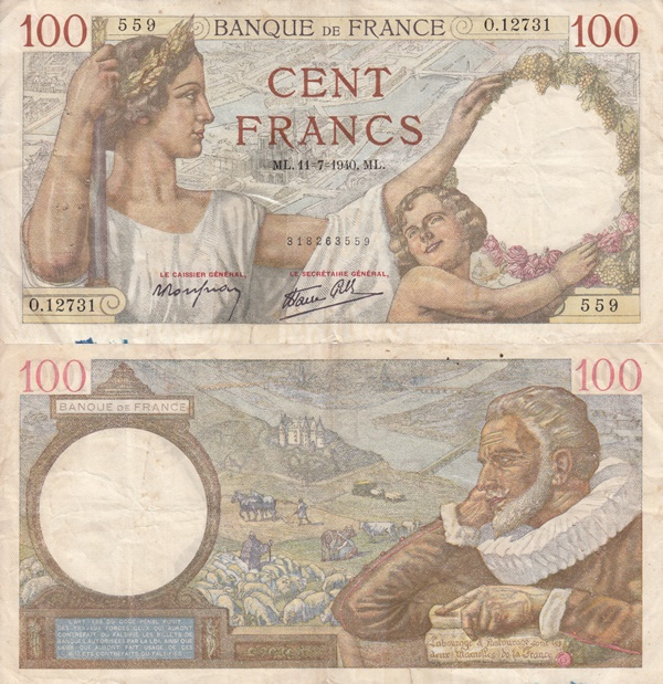 1939-1942 Issue - 100 Francs