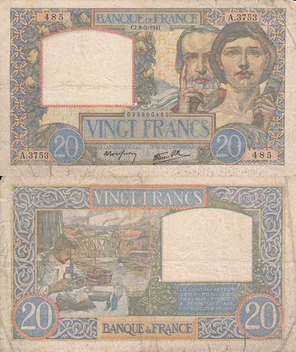 1939-1942 Issue - 20 Francs
