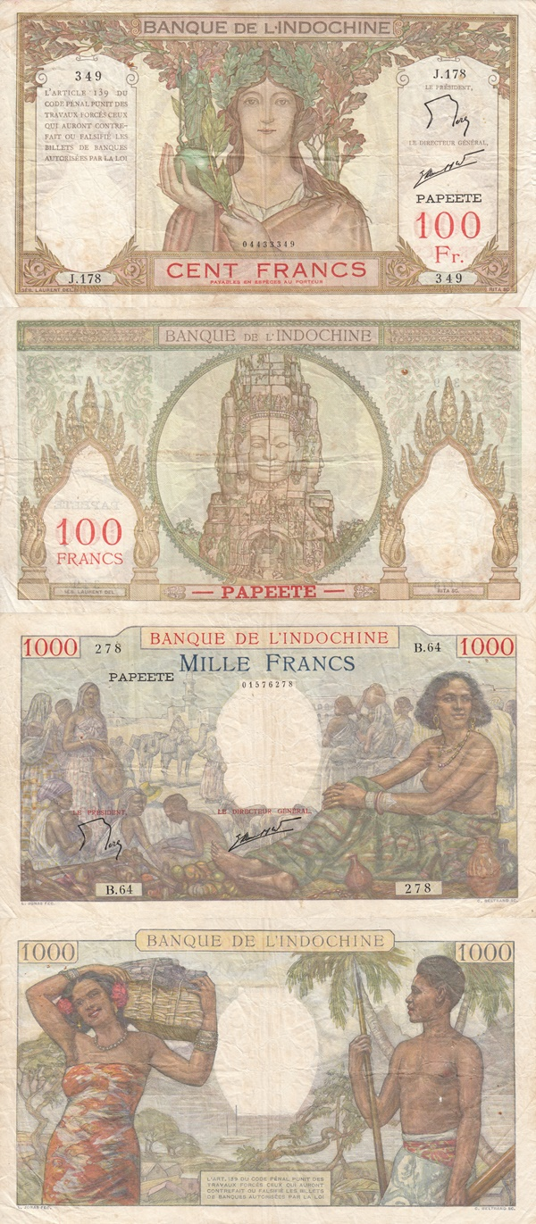 1939-19654 ND Issue - BANQUE DE L'INDOCHINE - PAPEETE