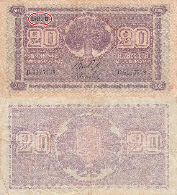 1939 Dated Issue (Litt. D) - 20 Markkaa/ Mark
