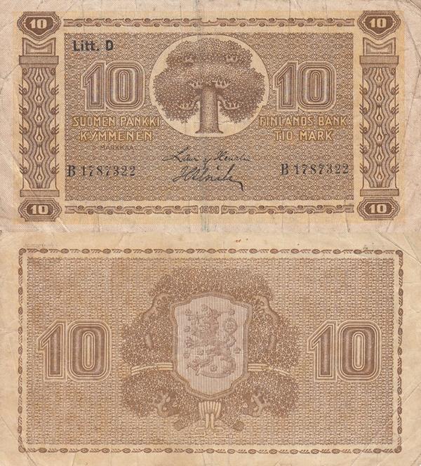 Emisiunea 1939 - Litt. D - 10 Markkaa/ Mark