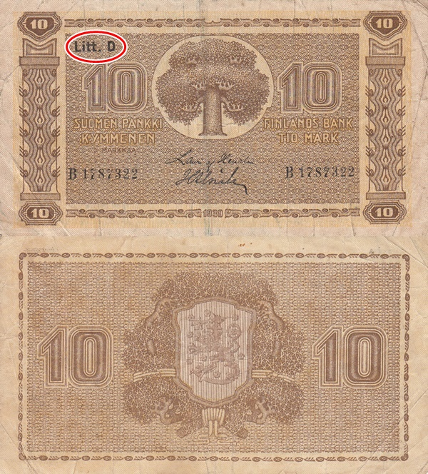 1939 Dated Issue (Litt. D) - 10 Markkaa/ Mark