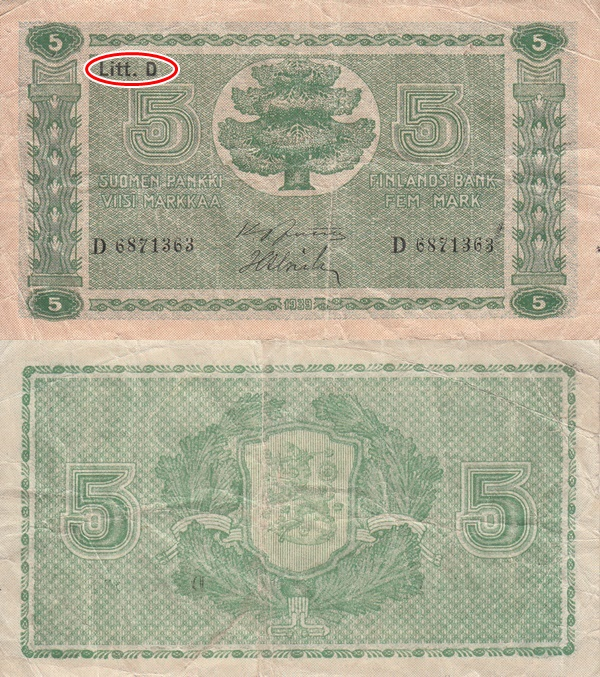 1939 Dated Issue (Litt. D) - 5 Markkaa / Mark