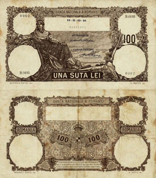1940-1942 Issue - 100 Lei