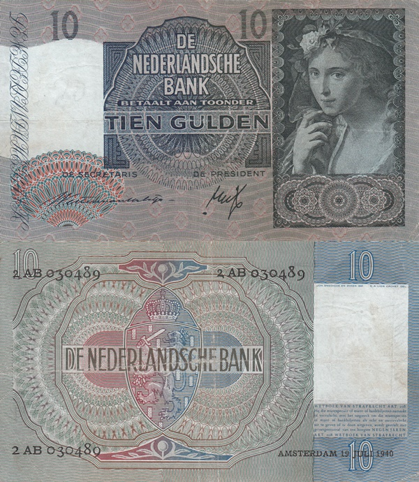 1940-1943 Issue - 10 Gulden