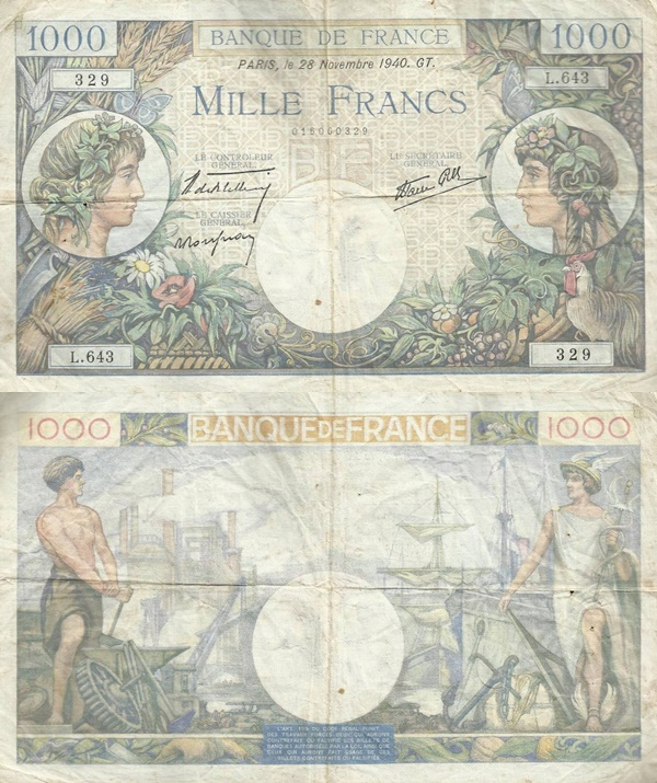 1940-1944 Issue - 1000 Francs